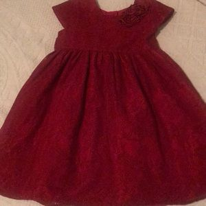 Little Girls red lace holiday dress